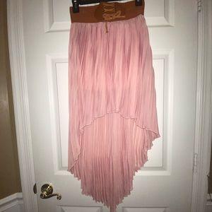 BB Couture pink chiffon high low skirt